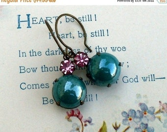 MOVING SALE On Sale Teal Berry Bubbles, Pearly Teal Glass Bubble and Raspberry Pink Swarovski Crystal Rhinestone Jewel Earrings