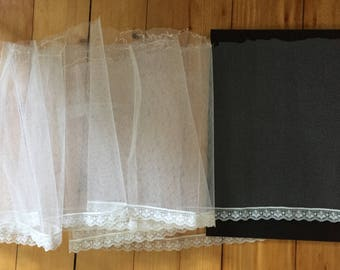 "Vintage White Tulle Fabric with Lace Trim, 10.5"" Wide x 4 Yards for Petticoat Ruffle, Millinery, Doll Crinoline, Craft Projects"