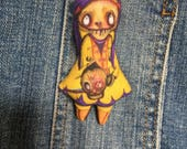 Creepy and Cute Original Art Hat Pin or Broach TWD Zombie Girl Doll Softie Walking Dead With Head Purple Hair Miniature Macabre Goth