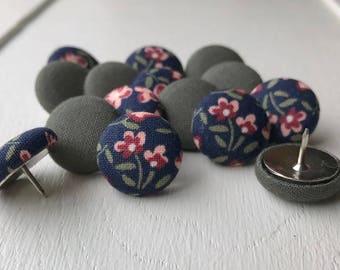 Flowers,Shabby Chic,15 Thumbtacks,Pushpins,Thumb Tacks,Push Pins,Pink,Green,Floral,Navy Blue,Decorative Pushpins,Gift,Cubicle,Teacher Gift