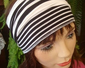 Womens headband black and white stipe rayon lycra wide headband adult yoga turband