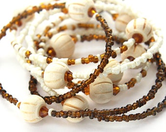 Summer Outdoors Extra Long Necklace Wood Glass Necklace Natural Wooden Beads Brown Beige Single Strand Necklace Seed Bead Necklace