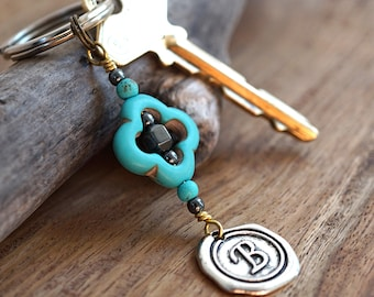 Hematite Stone and Turquoise Keychain Personalized Keychain Initial Wax Seal Geometric Flower Keychain for Mom Dad Friend Gardening Gift Her
