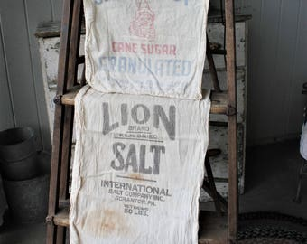 2 Antique Cotton Sacks Sugar and Salt