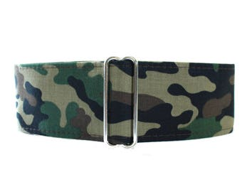 Camo Dog Collar Martingale, Wide Dog Collar, Camo Martingale Collar, Army Camo, Greyhound Collar, Blue Dog Collar, Whippet Collar