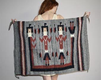 Aztec Ikat Mexican Warrior Vintage 1960s South West Ethnic Rainbow Novelty Kilim Rug - Kilim Rug  - Ethnic Rainbow Rug   - HD00061