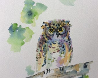"Owlet Watercolor Print 8x10"". Professionally Printed on Cotton Paper"