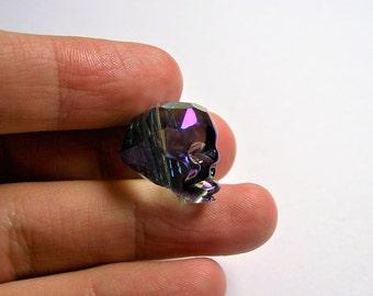 Crystal faceted skull - 1 pcs - 20mm - dark aurora mystic - SFB9
