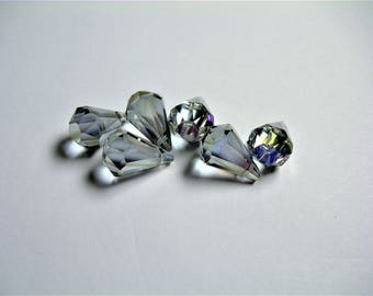 Crystal briolette  - 6 pcs - 11mmx17mm - top sideways drill - Faceted teardrop crystal  beads - AB finish - mystic glacier grey - CBC14