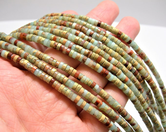 Impression Jasper -  4 mm Heishi beads -1 full strand - 190 beads - rondelle -  A quality - RFG66