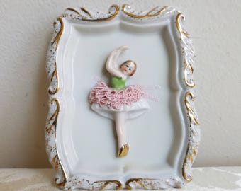 Vintage Ballerina White Gold Porcelain Wall Plaque Hand Painted, Ballet Dancer Pink TuTu, Made in Occupied Japan
