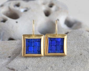 Mosaic Earrings - Lapis Lazuli Gold Earrings - Square Earrings - Gold Lapis Lazuli Earrings - Blue And Gold Earrings - Ready To Ship