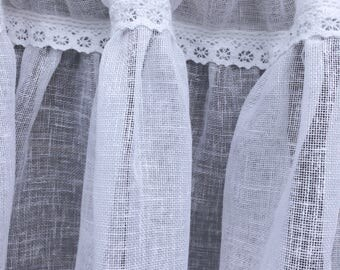 Sheer Large White Linen Cafe Curtain, Shabby, Linen Drape, Gathered Linen Lace Window Curtain