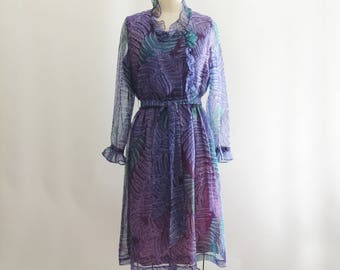 1970 Fern Print Blue and Purple Leaf Print Dress by Martha McLean // Ruffle Chiffon Dress // Leaf Patter Dress // Size Small Medium