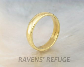 basic low dome wedding band for men or women, 4mm wide in 21k gold