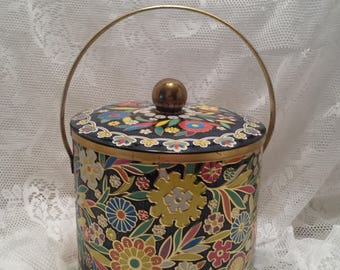 Daher of New York Vintage Cookie Tin - Embossed Floral Design Tin - BOHO Style - Cookie Jar - Large Decorative Canister - Kitchen Tin - Gift