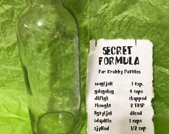 Spongebob Squarepants Krabby Patty Secret Formula bottle and recipe