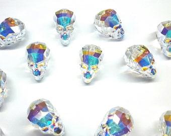 Swarovski Crystal AB 19x18x14mm Faceted Skull Bead (5750) Set of 2