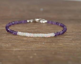 Ethiopian Opal & Labradorite Bracelet, Opal Jewelry, Welo Opal, October and February Jewelry, Gemstone Bracelet