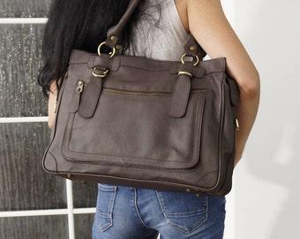 Dark Brown Leather Travel Bag Handbag Tote handbag cross-body bag Rina XXL fits a 17 inches laptop