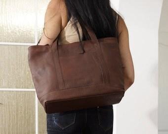 Genuine leather tote handbag purse shoulder bag Ria size L, dark brown