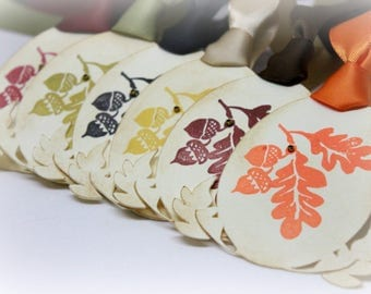 Vintage Inspired Thanksgiving Gift Tags (Double Layered) - Fall Rustic Leaf Tags - Autumn Leaves - Place Setting - Acorn Tags (Set of 8)
