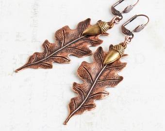 Long Antiqued Copper Plated Oak Leaf Dangle Earrings with Brass Acorn