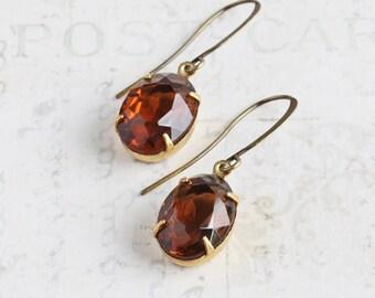 Smoky Topaz Brown Glass Rhinestone Dangle Earrings on Antiqued Brass Hooks