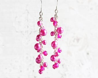 Hot Pink Earrings, Pearl Cluster Earrings on Silver Plated Hooks, Long Pink Earrings, Bridesmaid Jewelry