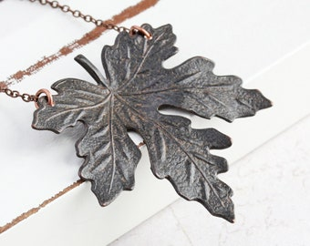 Rusty Black Maple Leaf Necklace on Antiqued Copper Plated Chain (40mm)