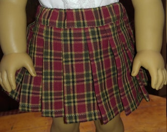 1940s Red Tan Green Plaid Pleated Skirt Molly or Emily fits 18 inch doll