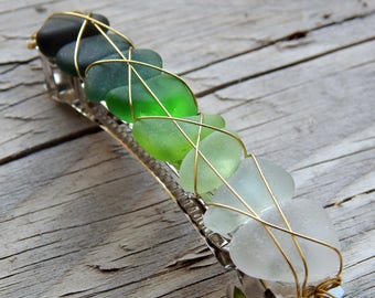 Green OMBRE SEA Glass Real Beach Glass Barrette Summer Hair Accessory Gifts for Her Under 30 Ocean Goddess Wire Wrapped Green Glass Hairclip