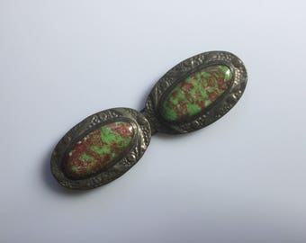 Large early 20c Ruskin antique arts and crafts movement pottery cabochon and repousse pewter mounted belt buckle