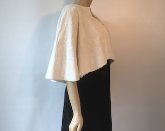RESERVED Late 1930s vintage art deco faux fur swagger back evening cape or capelet with shoulder pads in off white