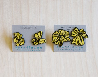 Asymmetrical Abstract Japanese Painted Bursting Blossom Earrings Yellow Mustard Hana Earrings // Japanese Pattern Inspired Recycled Leather