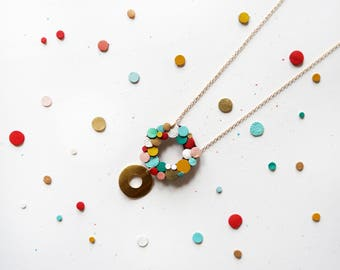 Rainbow Confetti Leather Statement Circle Necklace Abstract 14K Gold Plated Chain Colourful Sustainable Eco Friendly Gift Gifts Japanese