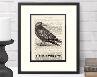 Edgar Allan Poe Nevermore over Vintage Edgar Allan Poe Book Page - The Raven Poe Gifts Goth Graduation Gift