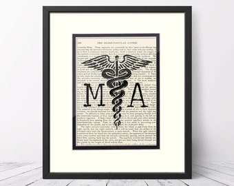 Medical Assistant, MA over Vintage Medical Book Page - Medical Assistant Gift, Medical Assistant Gifts, MA Gift, MA Graduation Gift