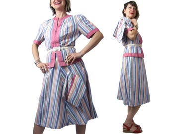 1930's Three Piece Cotton Stripe Set with Zipper Top, Flared Skirt and the Turnover Clutch