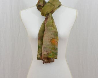 Hand Painted Chiffon Silk Scarf, Earthy, Bohemian, Gift for Her, Mori Girl, Watercolor Scarf, Abstract, Wearable Art, One of a Kind
