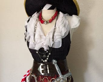 Large Adult Women's Pirate Costume Including Jewelry & Accessories - Large