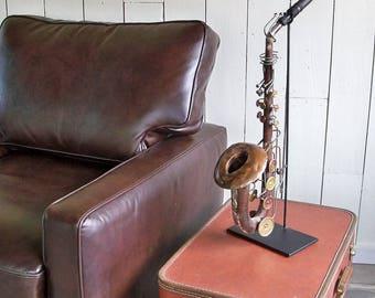 Vintage Saxophone Metal Sculpture with Unique Patina - Music Room Art, Jazz Lover