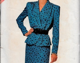 Butterick 6514 Womens Peplum Blouse, Pencil Skirt, Easy Pattern Size , 18, 20, 22, 24  Vintage 1980, Sewing Pattern Uncut
