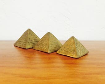 Vintage Brass Pyramid Paperweights / Set of 3