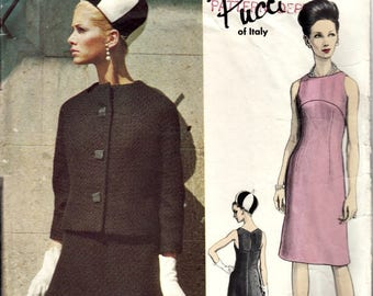 1965 Rare PUCCI of Italy Vogue Couturier Design Dress and Jacket Pattern  Vogue 1418  DISCOUNTED Due to Two Missing Pieces  Bust 31