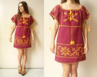 1970's Vintage Mexican Embroidered Hippie Folk Smock Mini Dress Tunic Size Medium