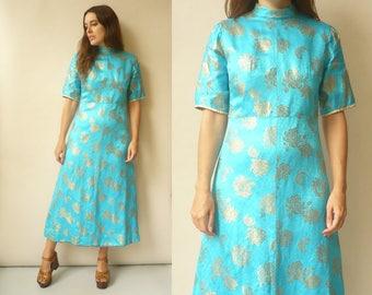 1970's Vintage Satin Metallic Brocade Turquoise Maxi Evening Dress Size XS