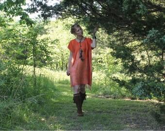 Caftan Dress Silk & Cashmere Handmade Womens One Size Fits All Tunic Small Medium Large XL Boxy Hippy Boho Chic