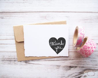 Thank You Stamp - Heart with Calligraphy Script - DIY Thank You Notes