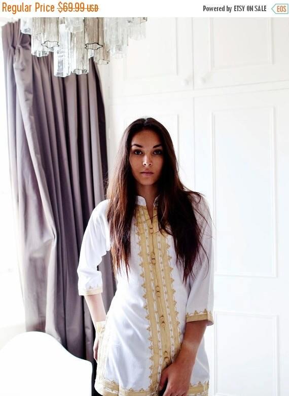 20% OFF Winter Sale// Summer boho| Handmade White & Gold Moroccan Tunic-perfect for birthday gifts, beach, resort wear, honeymoon gifts, boh